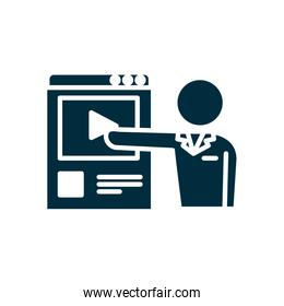 avatar teacher pointing a education web page icon, silhouette style