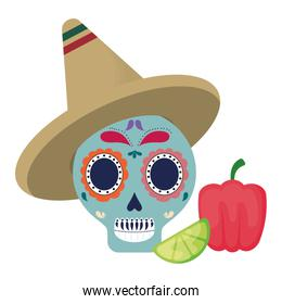 skull with hat mexican and vegetables
