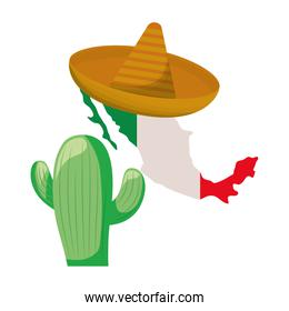 cactus with map mexican isolated icon