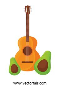 guitar mexican with avocados isolated icon