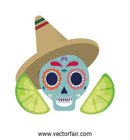 skull with mexican  hat and lemons sliced