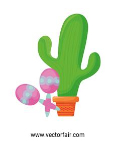 cactus with maracas mexican isolated icon
