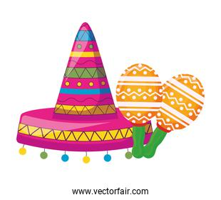hat mexican with maracas isolated icon