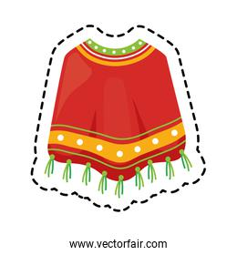 patch of poncho clothes mexican isolated icon