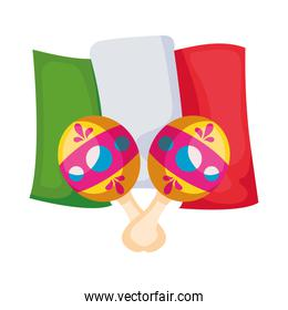 maracas with flag mexican isolated icon
