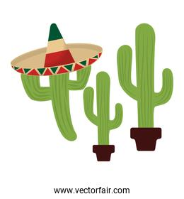 set cactus with hat mexican isolated icon