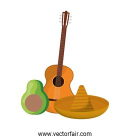 guitar mexican with avocado and hat