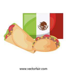 delicious food with flag mexican isolated icon