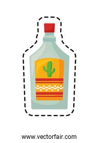 patch of tequila bottle drink isolated icon