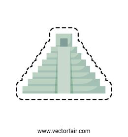 patch of pyramid aztec construction isolated icon