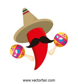 chili pepper with maracas and hat mexican