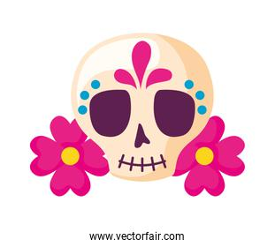 skull mexican with flowers decoration isolated icon