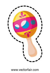 patch of maraca instrument mexican isolated icon
