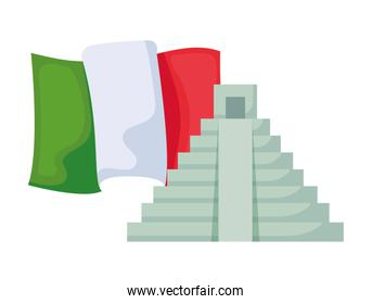 pyramid with flag mexican isolated icon
