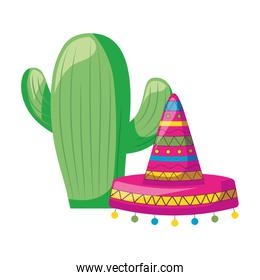cactus with hat mexican isolated icon