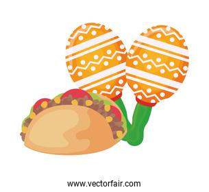taco food mexican with maracas isolated icon