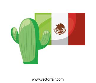cactus with flag mexican isolated icon