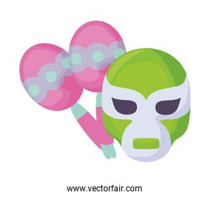 maracas with mask fighter mexican isolated icon