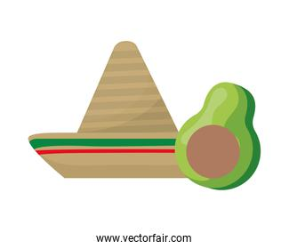 hat mexican with avocado isolated icon