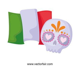 skull with flag mexican isolated icon