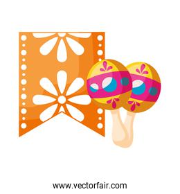 maracas with garland mexican isolated icon