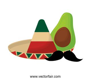 hat mexican with avocado and moustache