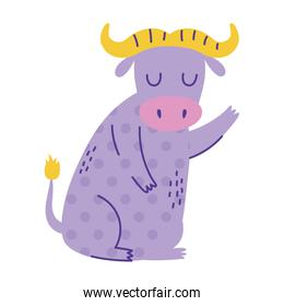 ox sitting character animal cartoon doodle color