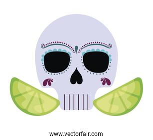 skull death icon traditional mexican with sliced lemons