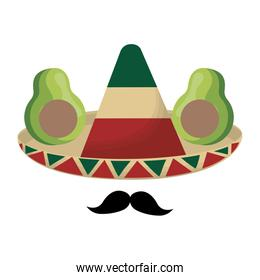 hat mexican with moustache and avocados