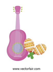 guitar mexican with maracas isolated icon