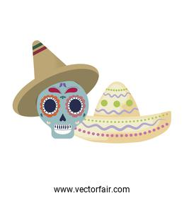 skull death with hats traditional mexican
