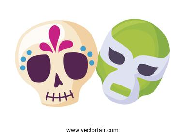 skull with mask fighter icons traditional mexican