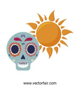 skull death icon traditional mexican with sun