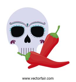skull death icon traditional mexican with chili peppers