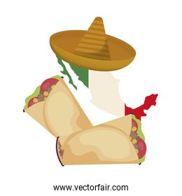 mexico map with hat and burrito food