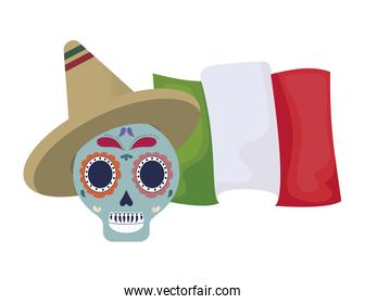 skull death traditional with hat and mexico flag