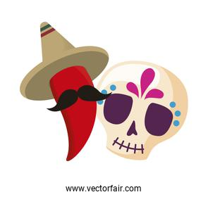 skull death icon traditional mexican with chili pepper