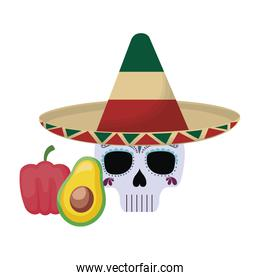 skull death with hat traditional mexican and food