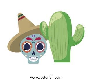 skull  traditional mexican with cactus