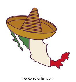 mexico map with hat traditional