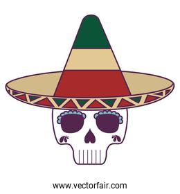 skull death with hat traditional mexican