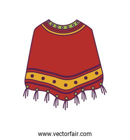 poncho clothes mexican isolated icon