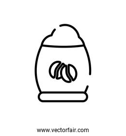 Isolated coffee beans bag line style icon vector design