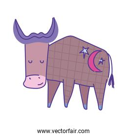 ox animal cartoon doodle color on white background