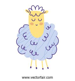 sheep view animal cartoon doodle color on white background