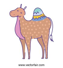 camel cartoon animal doodle color on white background