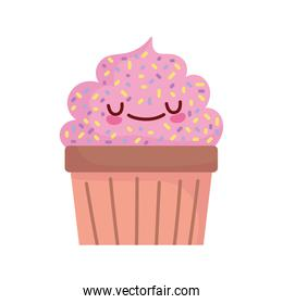 sweet cupcake with sprinkles grainy food cute line and fill style