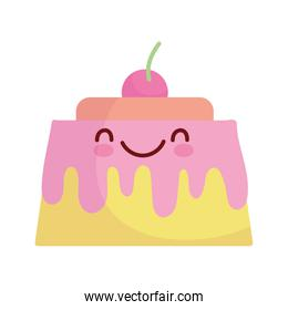 jelly with cherry pastry cartoon food cute line and fill style
