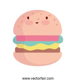 burger character cartoon fast food cute line and fill style