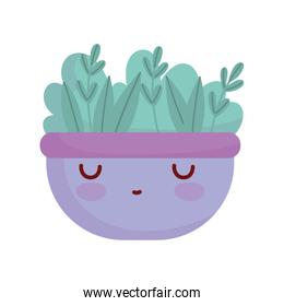 bowl with leaves fresh cartoon food cute line and fill style